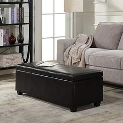 Black Faux Leather Storage Foot Rest Sofa Ottoman Bench Foot