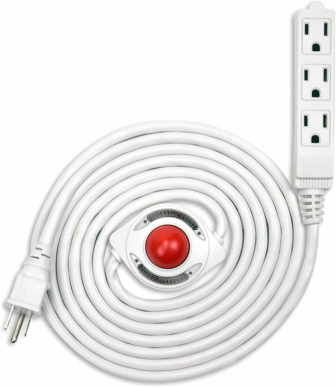 15 feet 3 grounded outlets extension cord