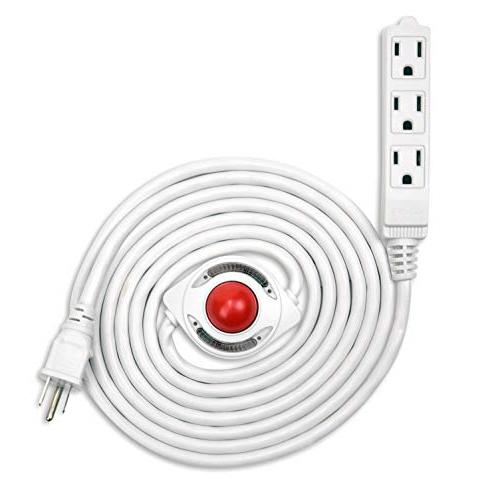 new 15 feet 3 grounded outlets extension