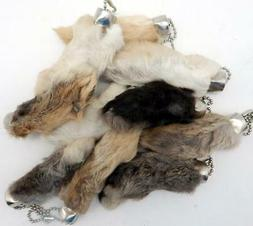 Natural Colored Lucky RABBITS FOOT  Key Chain New