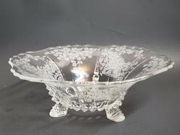 VINTAGE ETCHED FLOWERS GLASS FOOTED LARGE BOWL ANTIQUE COLLE